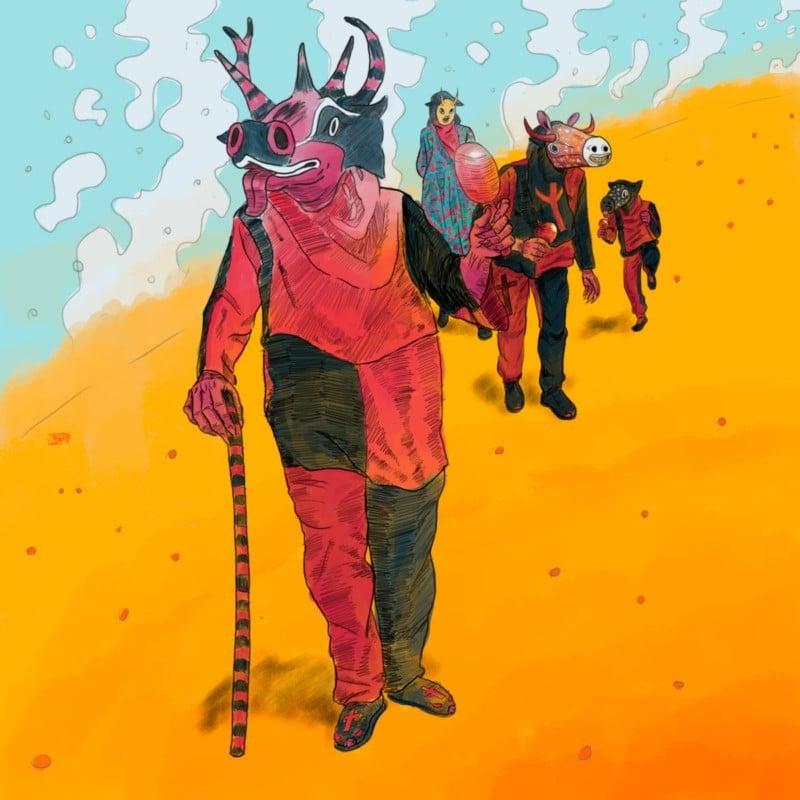 Ilustración de los Diablos Danzantes de San Rafael de Orituco