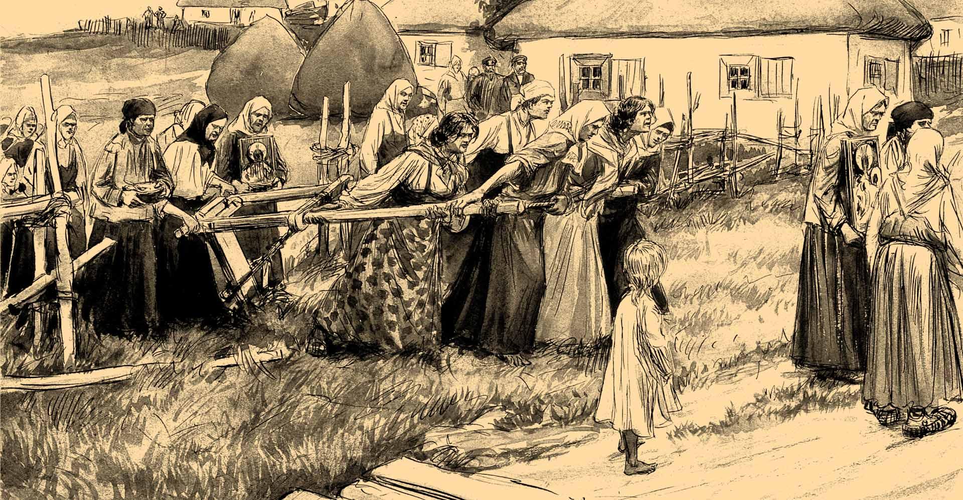 Procesión religiosa en Rusia cólera