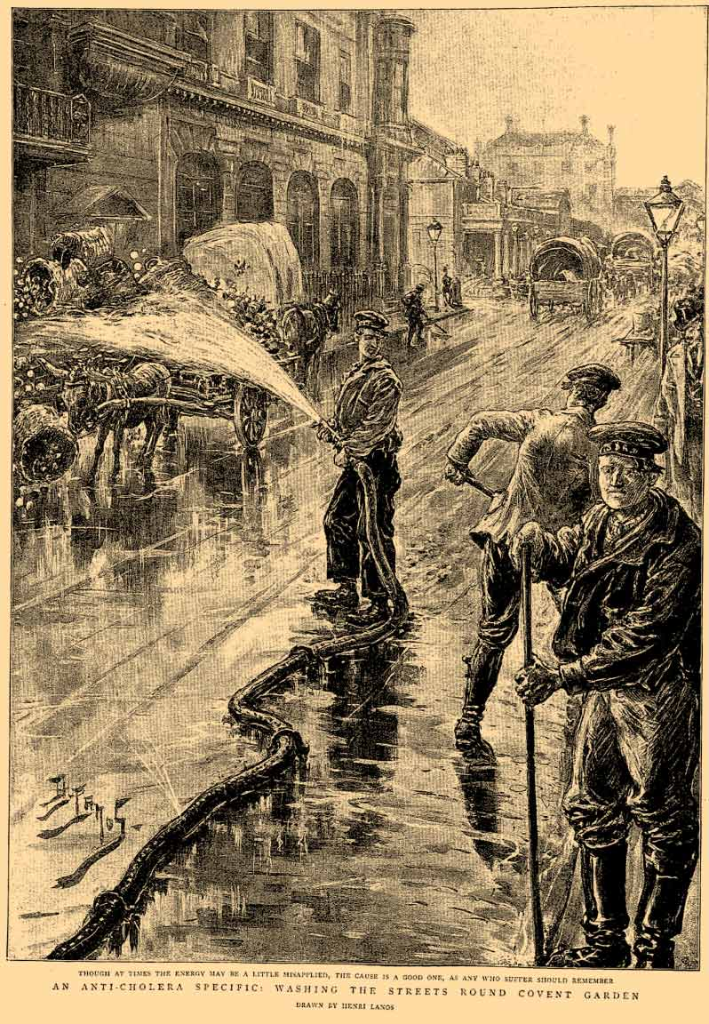 Limpieza contra el cólera en Covent garden Londres