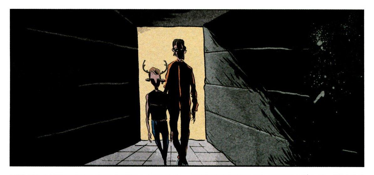 Viñeta del cómic Sweet Tooth. Hombre con un uniforme naranja y un niño con cuernos de venado caminan por un pasillo oscuro.