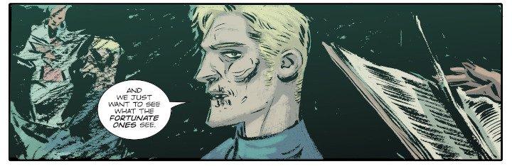 Viñeta sobre contagios distópicos del cómic The Empty Man. Primer plano de un hombre con un golpe en la boca.