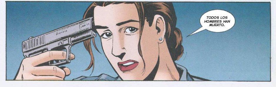 Viñeta sobre contagios distópicos del cómic Y, el último hombre. Mujer policía se apunta con una pistola a la sien.