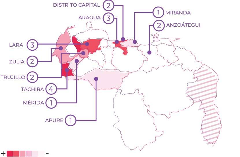 distribución de los femicidios por estado