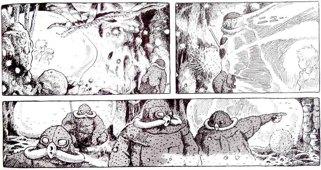 Viñetas sobre contagios distópicos del cómic Nausicaä del Valle del Viento. Viñeta 1: Niños dentro de una burbuja, al rededor un ambiente que se ve tóxico y un insecto grande y extraño, hombre con traje saliendo del cuadro. Viñeta 2: Hombre con traje de seguridad saliendo de la burbuja. Viñeta 3: Cuatro hombres con trajes, uno señala hacia la izquierda.