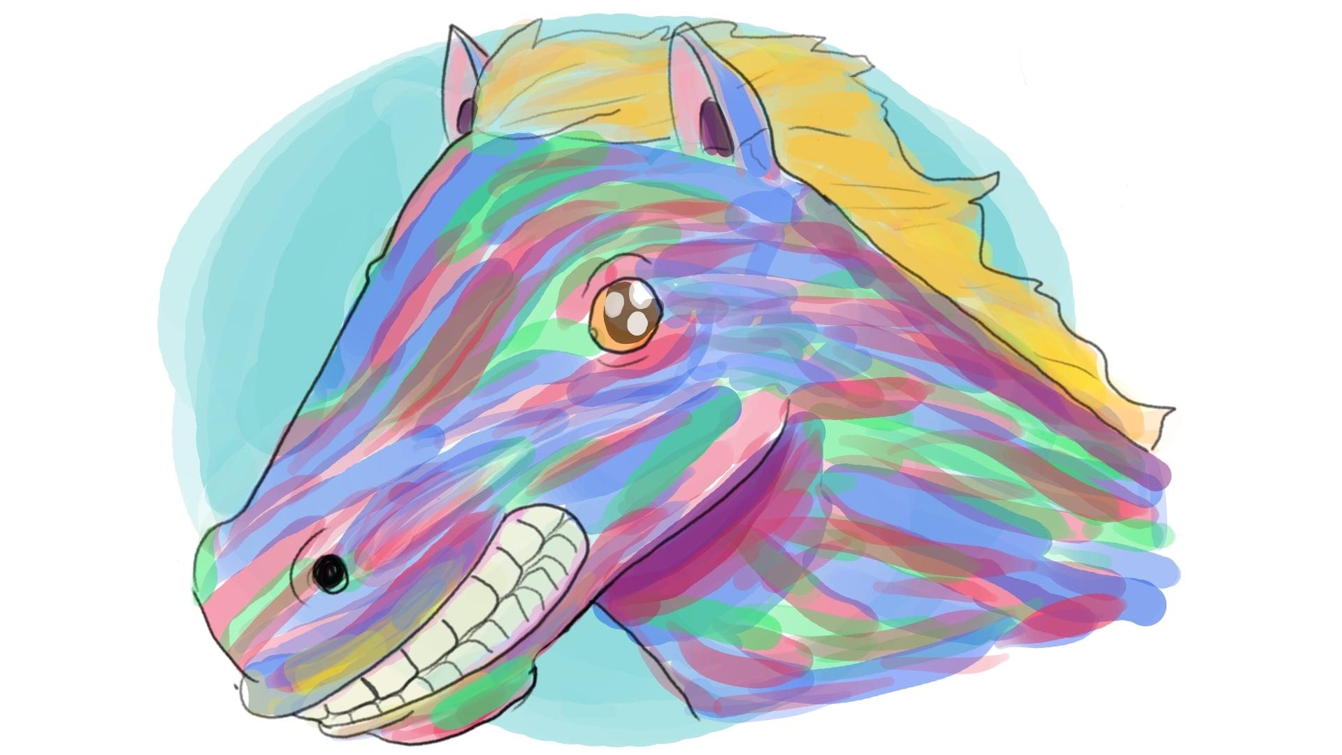 El caballo que era bien bonito sonriendo