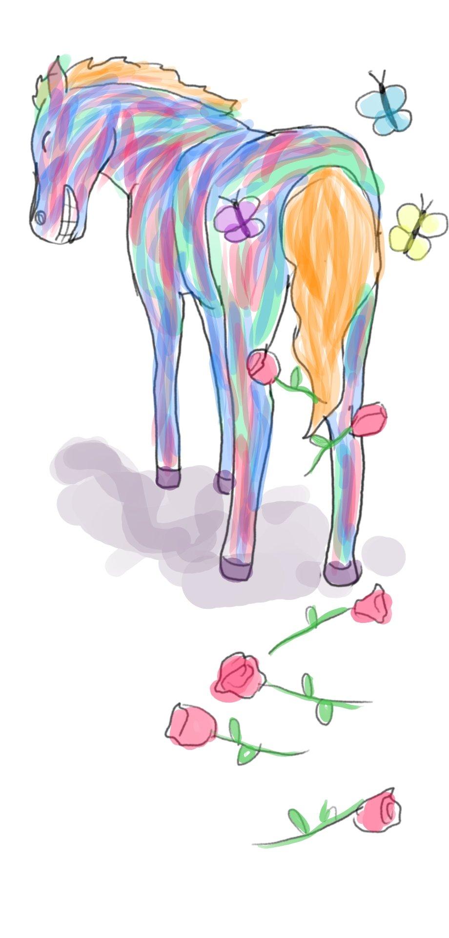El caballo que era bien bonito con rosas y mariposas al rededor