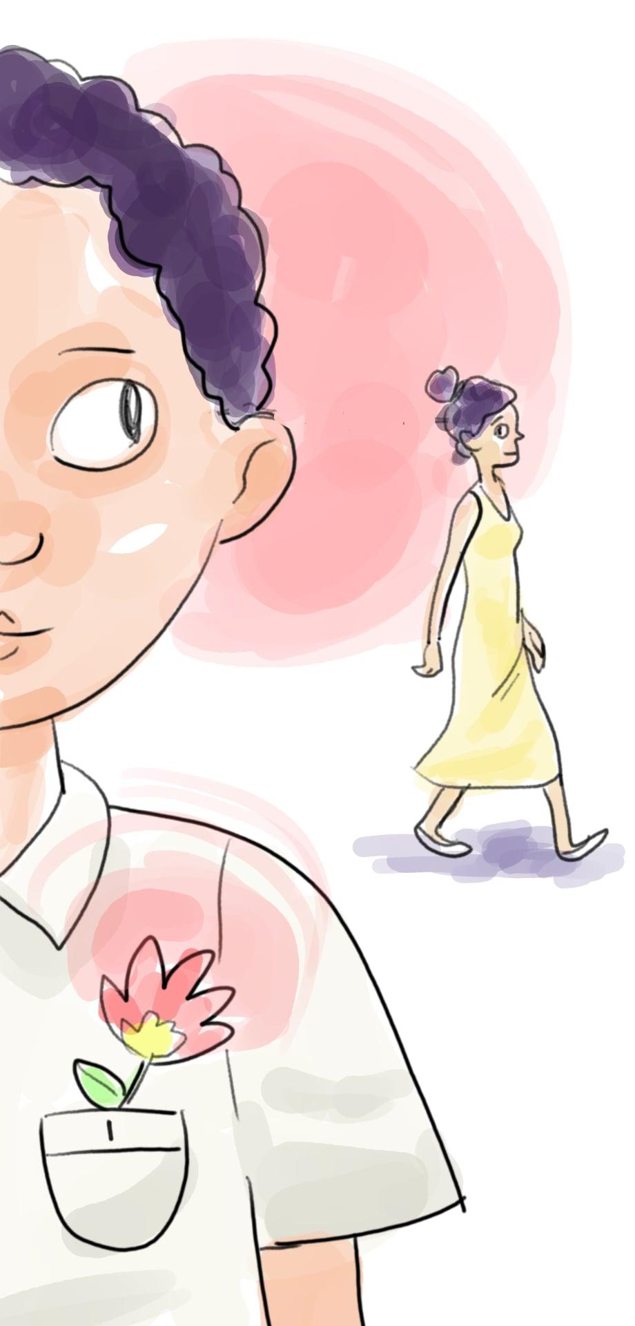 El muchacho sin nombre en primer plano, mira a la muchacha a lo lejos, que le devuelve la mirada