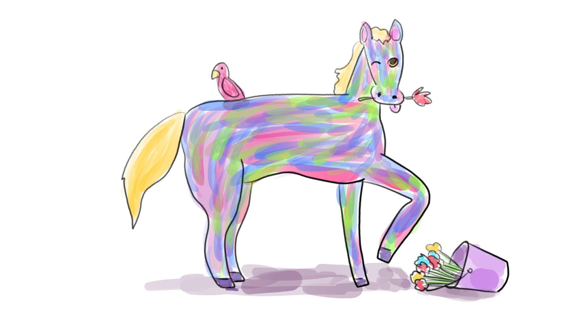 El caballo que era bien bonito comiendo flores de una cubeta