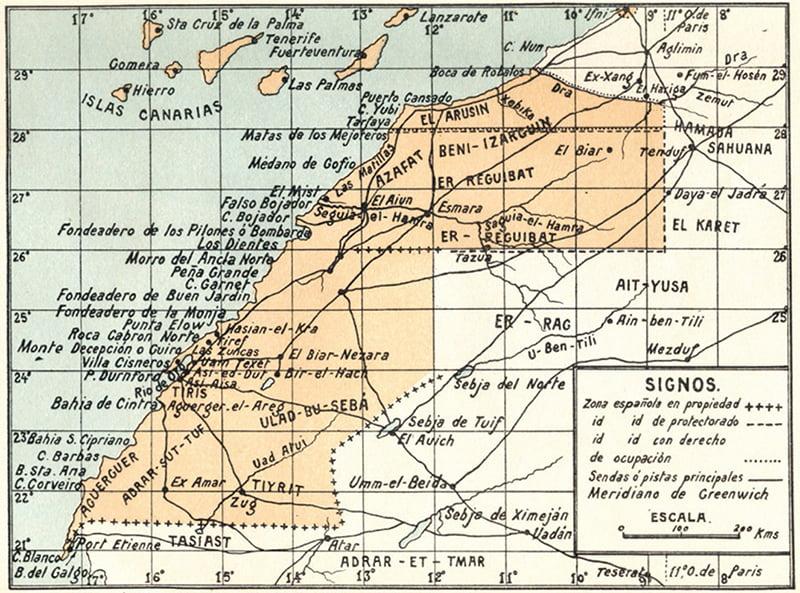 Mapa de la conquista española del Sahara