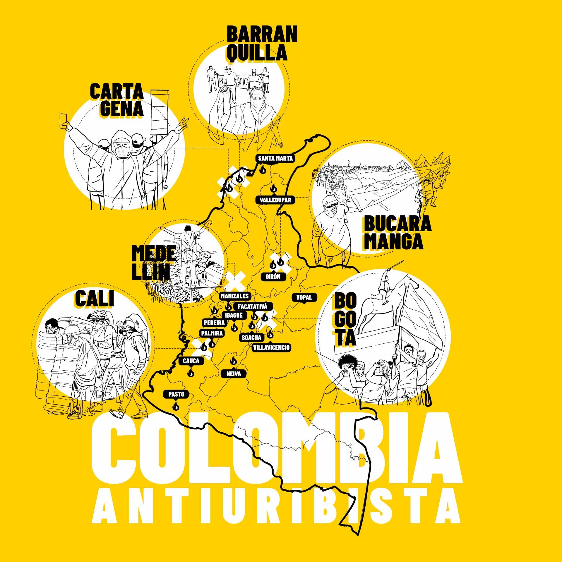 Mapa de colombia, protestas en: Bogotá, Cali, Barranquilla, Medellín, Cartagena y Bucaramanga.Manifestaciones en otras ciudades: Pereira, Popayán, Palmira, Facatativá, Ibagué, Manizales, Pasto, Neiva, Santa Marta, Villavicencio, Valledupar, Yopal, Girón y Soacha. Colombia antiuribista