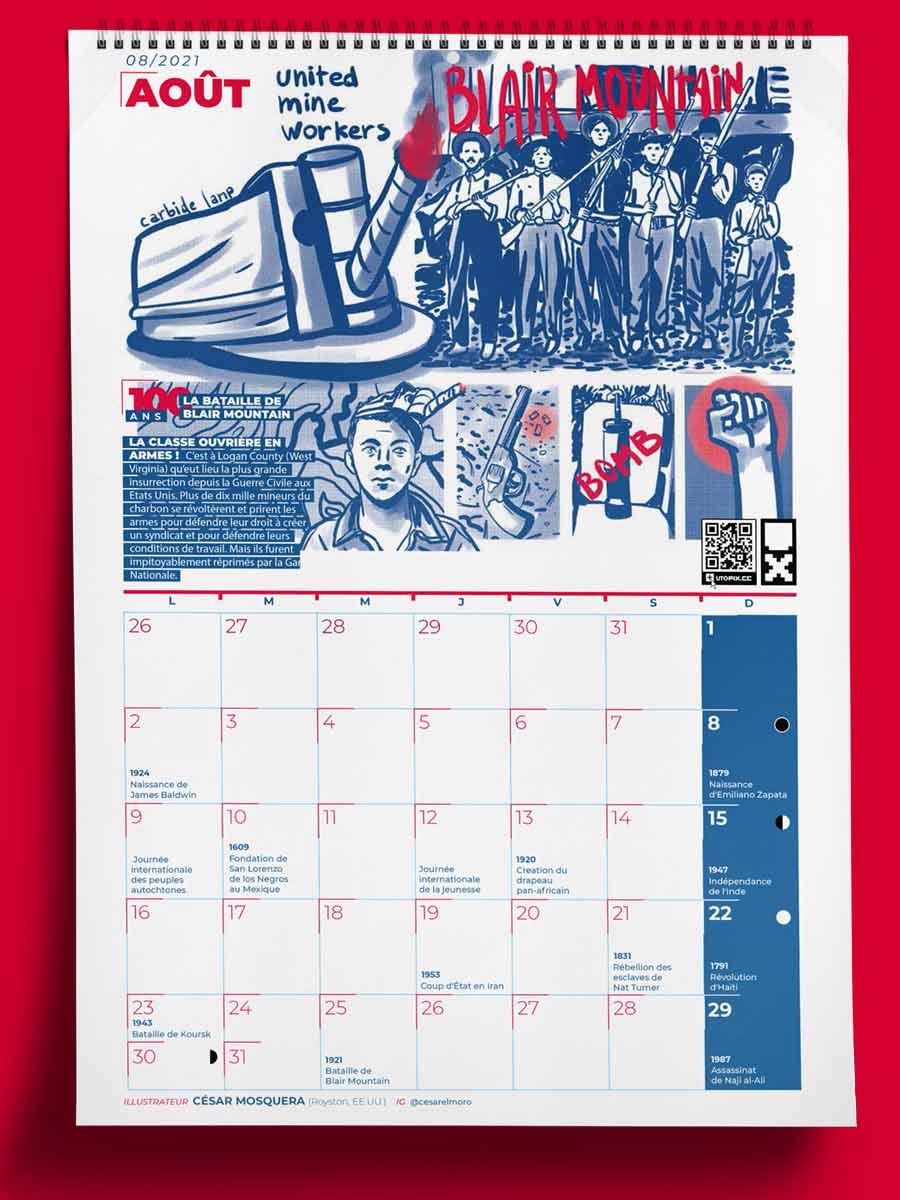 Muestra del Calendario Utopix agosto 2021 con ilustración de la Batalla de Blair Mountain