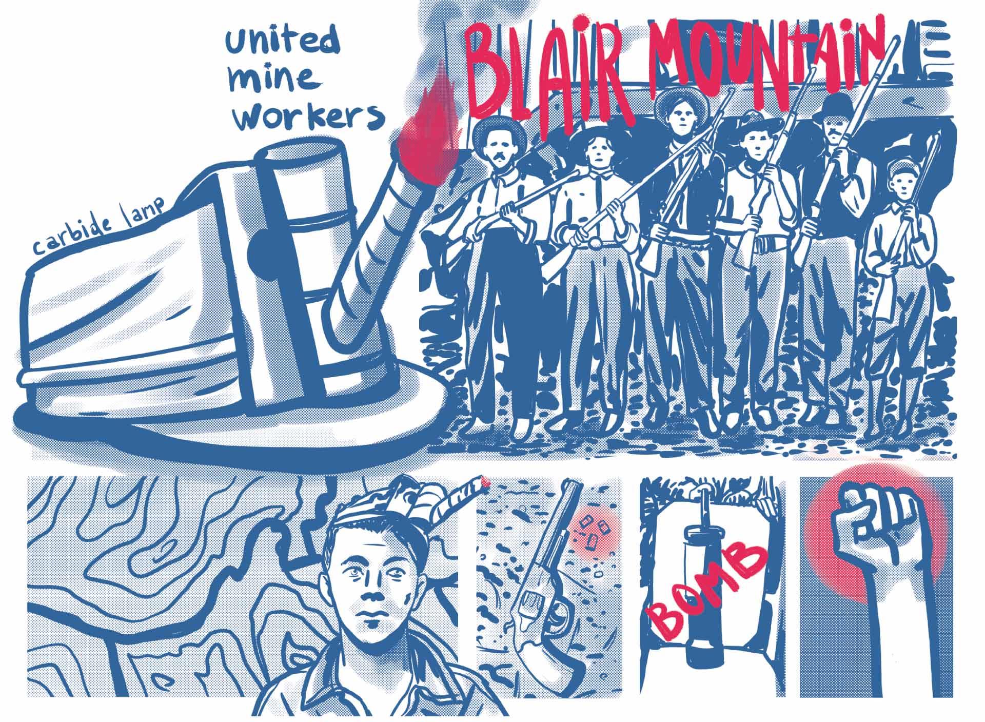 Ilustración principal de Agosto conmemorando la Batalla de Blair Mountain. Gorra con lampara, mineros armados, mapa, retrato de joven minero, revolver, bombra y puño alzado.